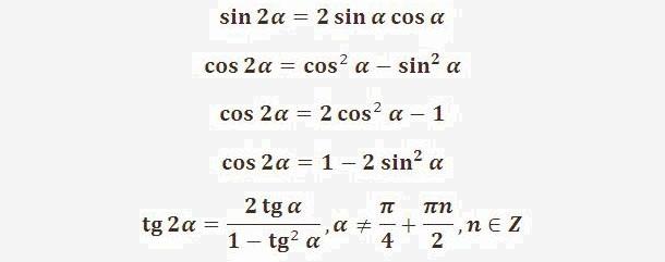 Картинки по запросу Тригонометрические функции двойного угла: